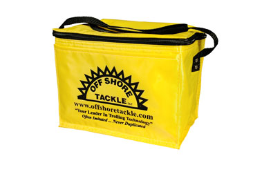 Off Shore Tackle Yellow Soft 6 Pack Cooler With Front Pocket And Black Silkscreen Logo