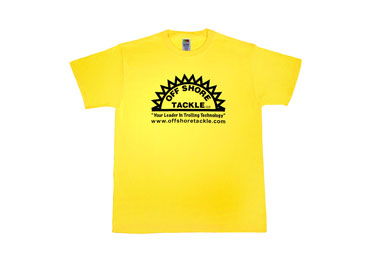 Yellow Short Sleeve T Shirt With Black Silkscreen Logo, 50/50 Blend No Pocket
